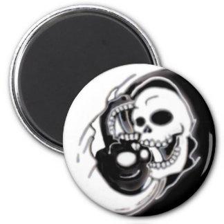 Ying Yang Grim Reaper 6 Cm Round Magnet