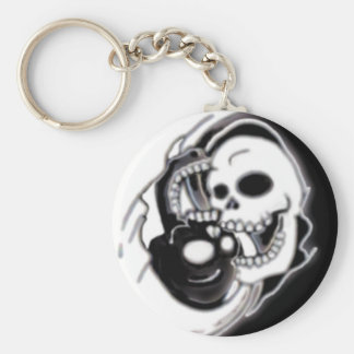 Ying Yang Grim Reaper Basic Round Button Key Ring