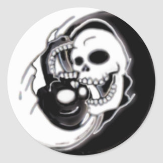 Ying Yang Grim Reaper Round Sticker