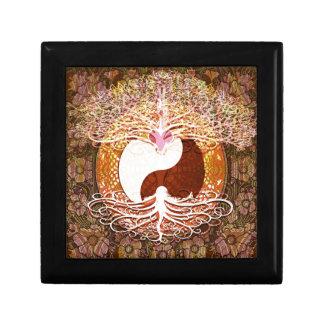 Ying Yang Heart Tree of Life Small Square Gift Box