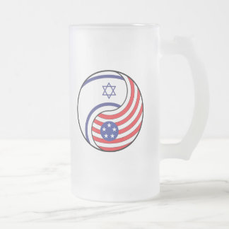 Ying Yang Israel America Frosted Glass Beer Mug