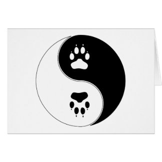 Ying Yang Paw Print Card