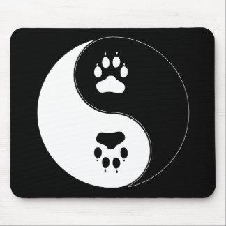 Ying Yang Paw Print Mouse Pad