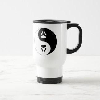 Ying Yang Paw Print Stainless Steel Travel Mug