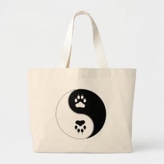 Ying Yang Paw Print Tote Bags