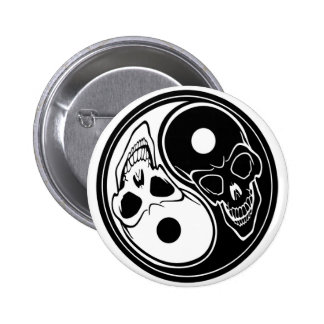 ying yang skull vector 6 cm round badge