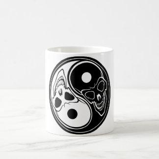 ying yang skull vector basic white mug
