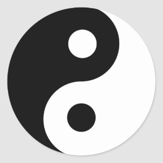 Ying Yang Symbol Black and White Design Round Sticker
