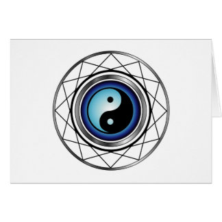 Ying Yang symbol with blue glow Greeting Card