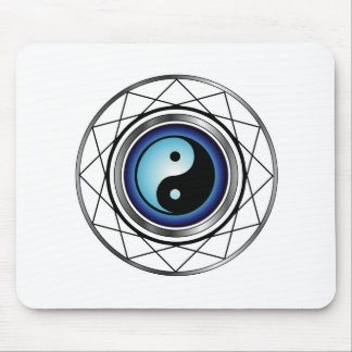 Ying Yang symbol with blue glow Mouse Pad