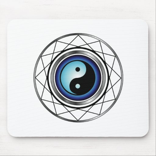 Ying Yang symbol with blue glow Mouse Pads