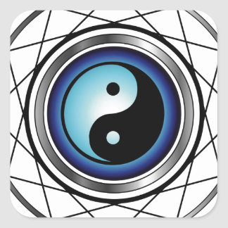 Ying Yang symbol with blue glow Square Sticker