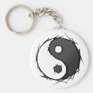 ying yang tattoo basic round button key ring