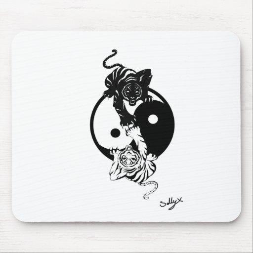 Ying yang tiger mousepads