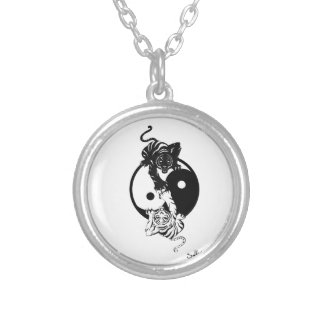 Ying yang tiger silver plated necklace