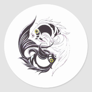 YingYang Koi Round Sticker