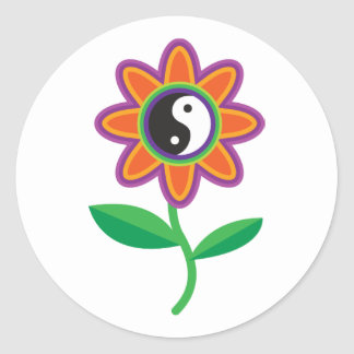 YinYang Daisy Round Sticker