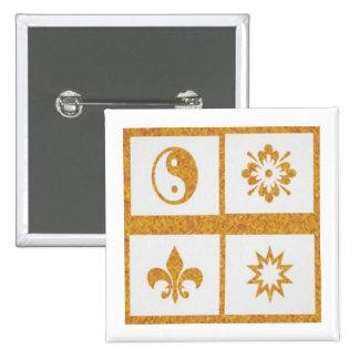 YinYang, Fleur de Lys - 4 Artistic Base Pallets 15 Cm Square Badge