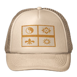 YinYang, Fleur de Lys - 4 Artistic Base Pallets Trucker Hat