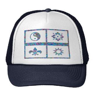 YinYang, Fleur de Lys - 4 Artistic Base Pallets Mesh Hats