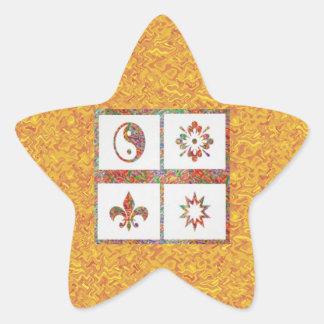 YinYang, Fleur de Lys - 4 Artistic Base Pallets Star Sticker
