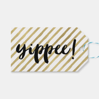 Yippee | Black & Faux Gold Stripe Gift Tags