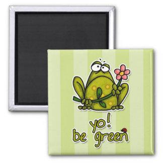 yo! be green square magnet