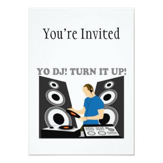 Yo DJ, Turn It Up 13 Cm X 18 Cm Invitation Card