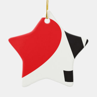 Yo heart You (I love you) Double-Sided Star Ceramic Christmas Ornament
