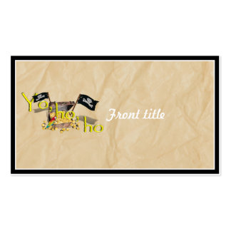 YO HO HO Pirate Treasure Chest on Crinkle Paper Business Card Template