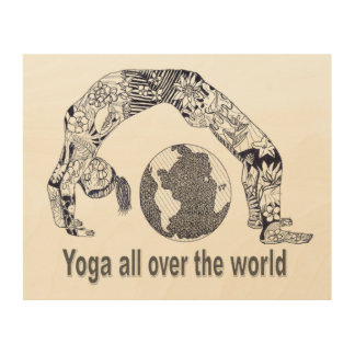 Yoga All Over the World Wooden Wall Art Wood Prints