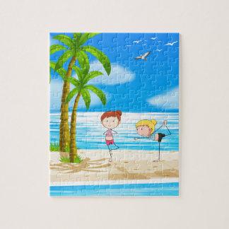 Yoga and beach puzzle