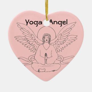 Yoga Angel Ceramic Heart Decoration