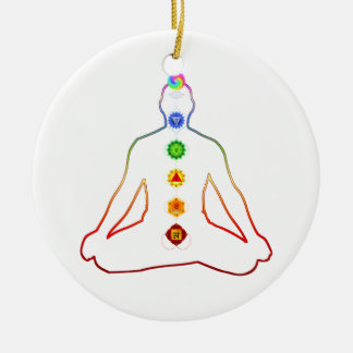 Yoga Asana Siddhasana Pose with 7 Chakras Round Ceramic Decoration