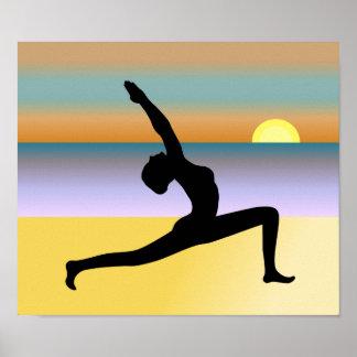 Yoga At The Beach Yoga Pose Poster Print