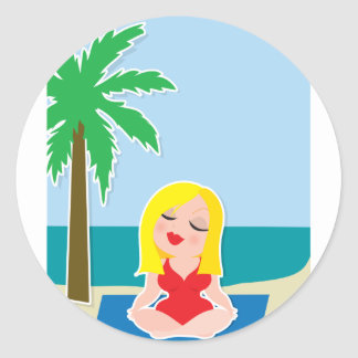 Yoga Background Round Sticker