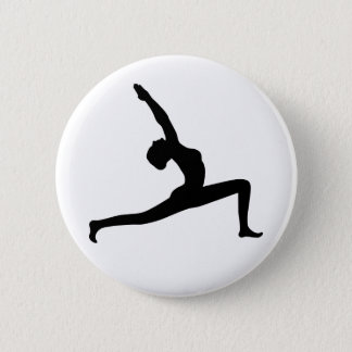 Yoga Black Silhouette Woman Posing Round Button
