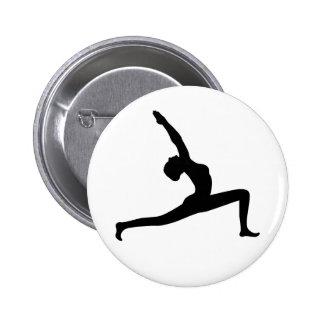 Yoga Black Silhouette Woman Posing Round Button