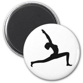 Yoga Black Silhouette Woman Posing Round Magnets