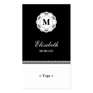 Yoga Black White Lace Monogram Pack Of Standard Business Cards