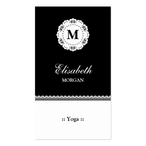 Yoga Black White Lace Monogram Business Cards