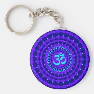 Yoga Blue Purple Mandala Basic Round Button Key Ring