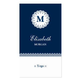 Yoga Blue White Lace Monogram Pack Of Standard Business Cards