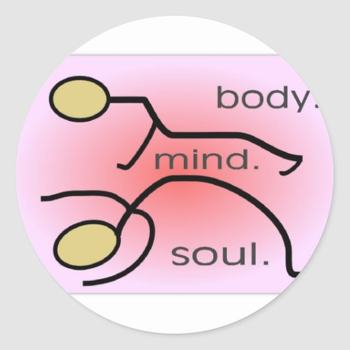 "Yoga--""Body. Mind. Soul"" Gifts--Stick people Round Stickers"