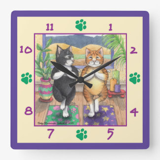 Yoga Cats Square Wall Clock
