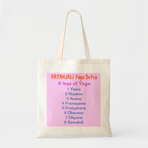 YOGA Checklist : 8 steps of PATANJALI SUTRA Canvas Bags