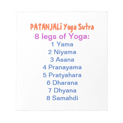 YOGA Checklist : 8 steps of PATANJALI SUTRA Scratch Pad