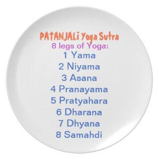 YOGA Checklist 8 steps of PATANJALI SUTRA Dinner Plate