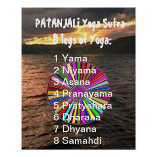 YOGA Checklist : 8 steps of PATANJALI SUTRA Poster