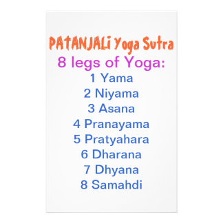YOGA Checklist : 8 steps of PATANJALI SUTRA Stationery Paper